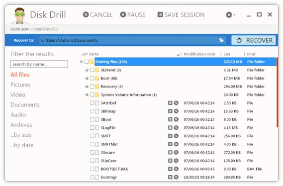 Recover Lost Directory Files with Disk Drill