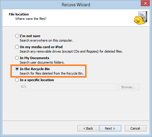 Recover Pictures from Recycle bin using Recuva